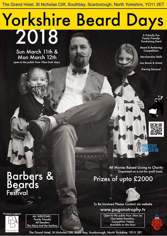 Yorkshire Beard Day 2018 - Sunday March 11th The Grand Hotel, St Nicholas Cliff, Scarborough UK North Yorkshire