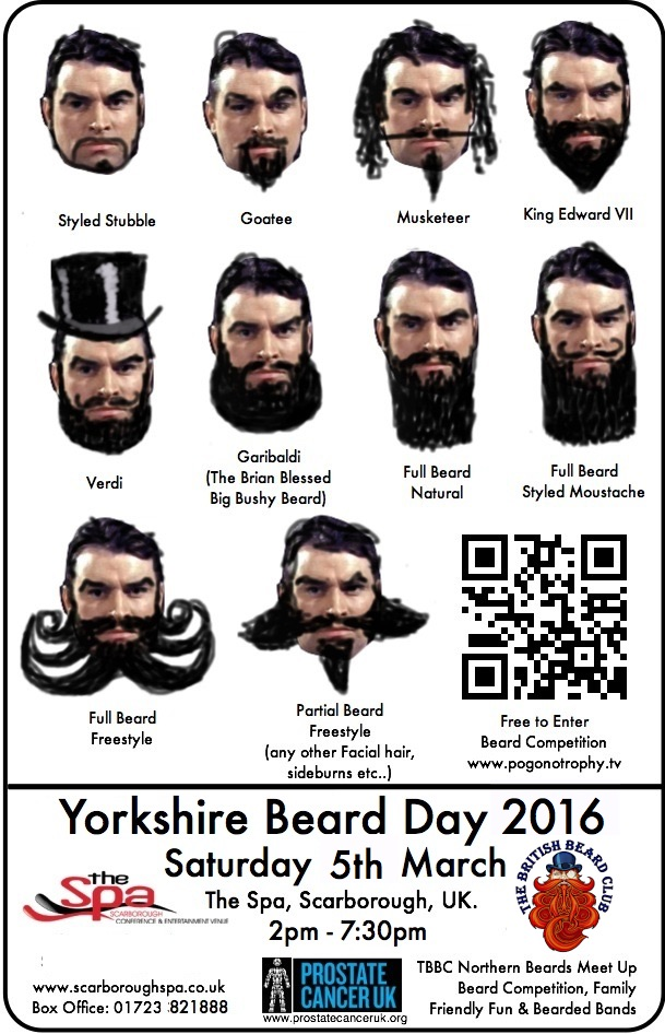Yorkshire Beard Day 2016 beard competition style guide flyer 2016
