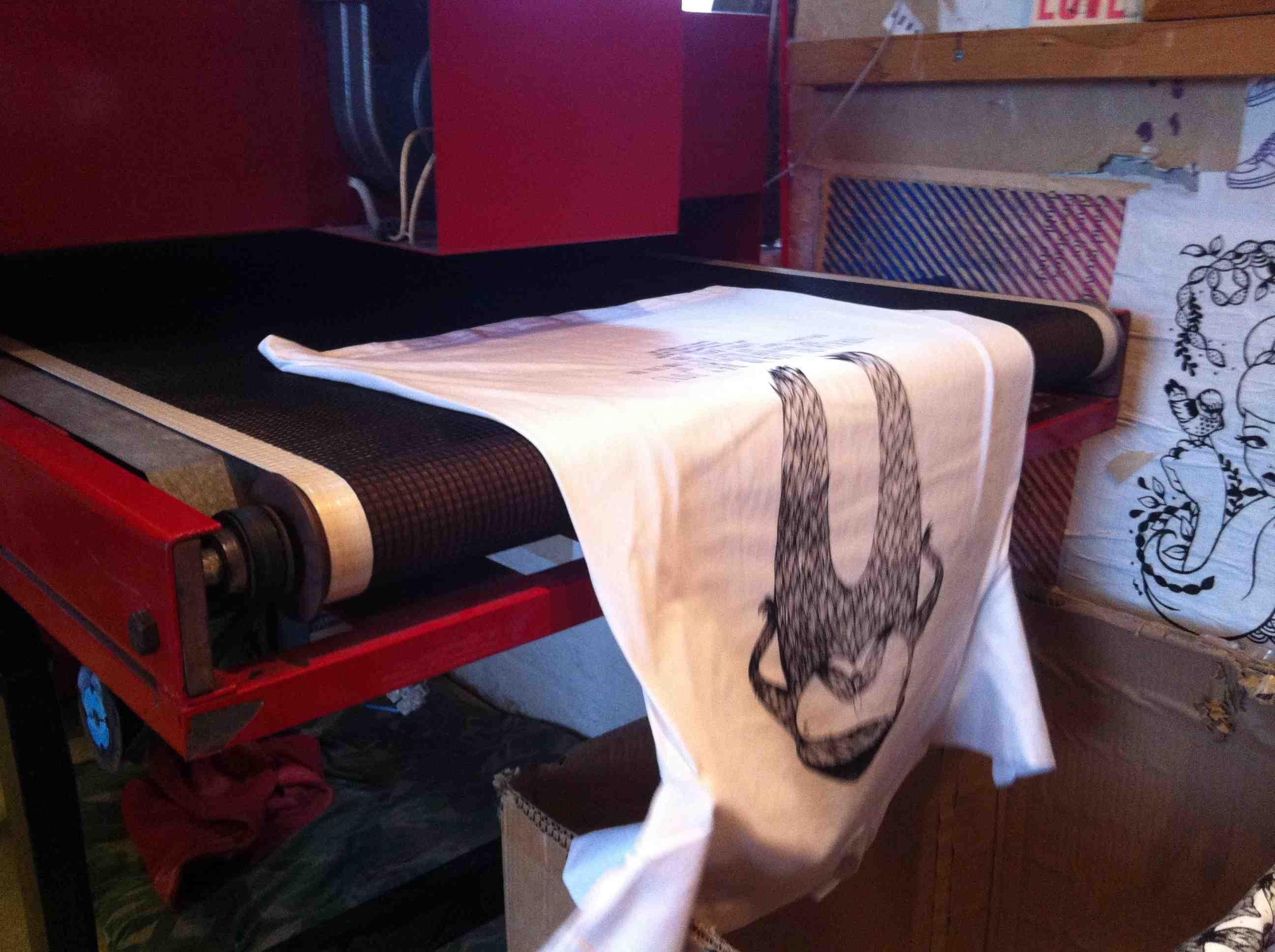 Yorkshire Beard Day 2013 T-shirt printing out of the dryer | Artwork created by David Litchfield http://davidlitchfieldillustration.com