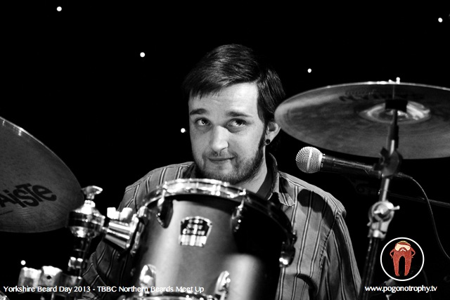 The Blind Dead McJones Band - Steven Nixon B/W -Yorkshire beard day 2013 - TBBC Northern Beards Meet Up at The Spa Theatre, Scarborough Spa, Scarborough, UK - ©Simon Heaton 2013