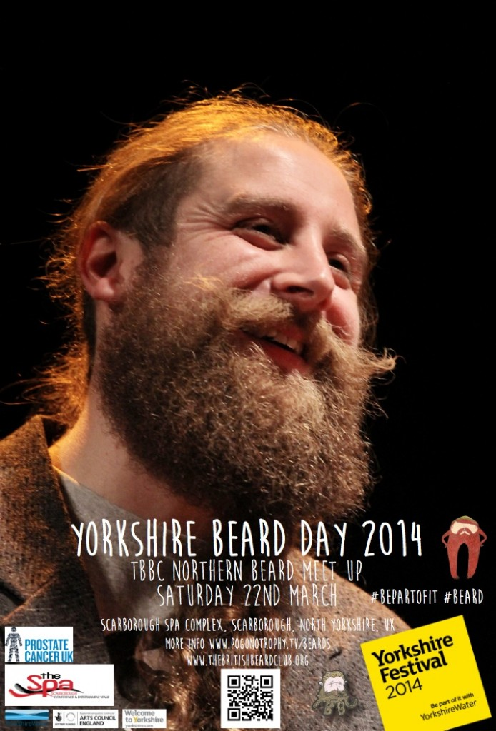 Yorkshire Beard Day 2014 - TBBC Northern Beard Meet Up Saturday 22nd March at Scarborough Spa Complex, Southbay, Scarborough poster - beard
