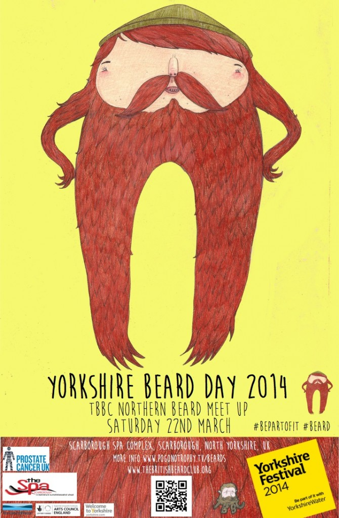 Yorkshire Beard Day 2014 poster Feat. David Litchfield's Yorkshire Beard Day Character Beardy Mcbeardy