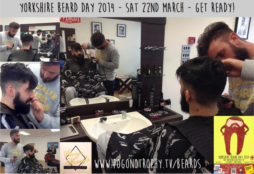 Meanwhile at George Henry's Traditional Barbers Getting ready for Yorkshire Beard Day 2014 - TBBC Northern Beard Meet Up.....
