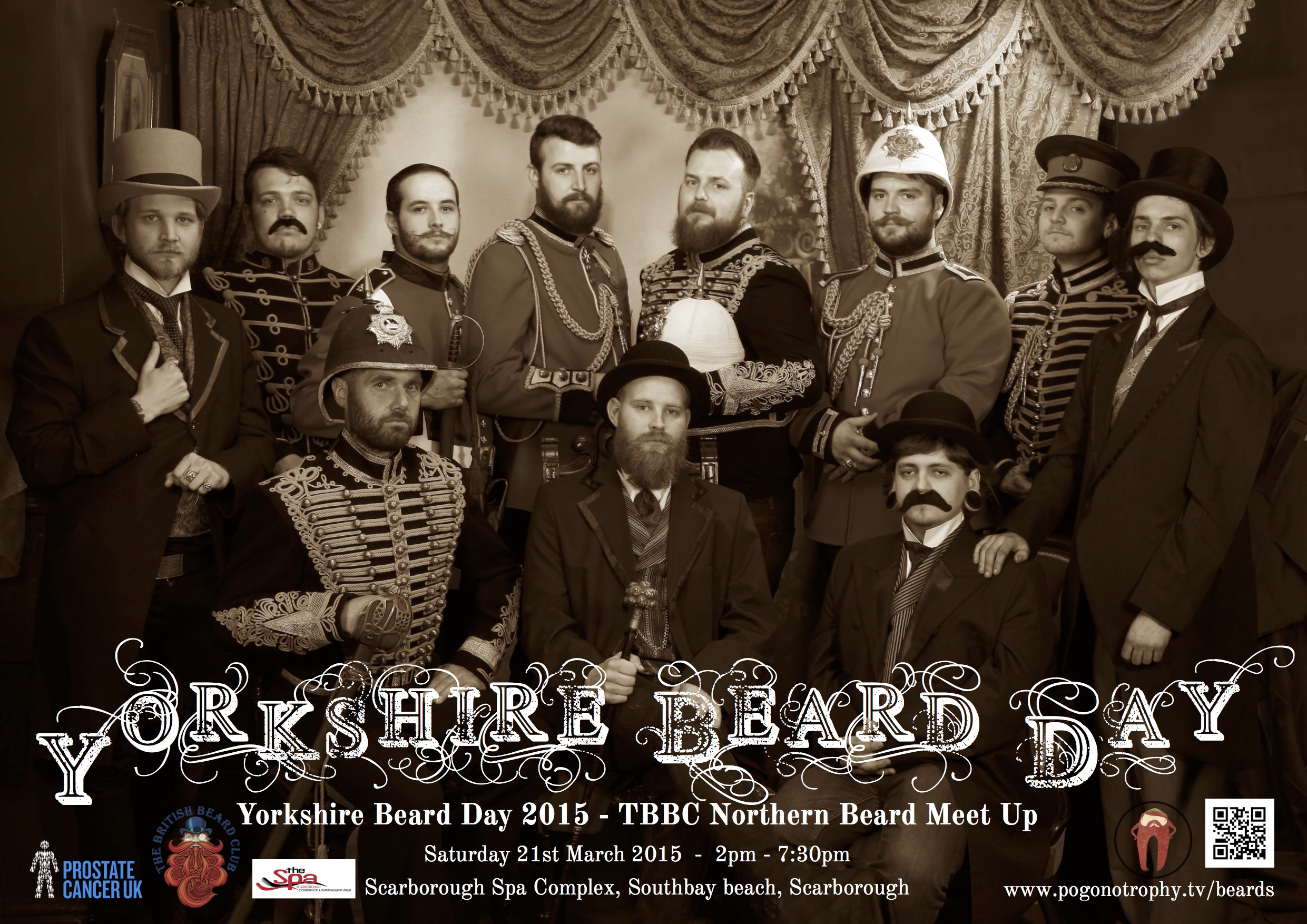 Yorkshire Beard Day 2015 - TBBC Northern Beard Meet Up - Saturday 21st March 2015, Scarborough Spa Complex, Southbay Beach, Scarborough.  Poster by Captain Ants Photography by Past Time Studios of Scarborough, UK.
