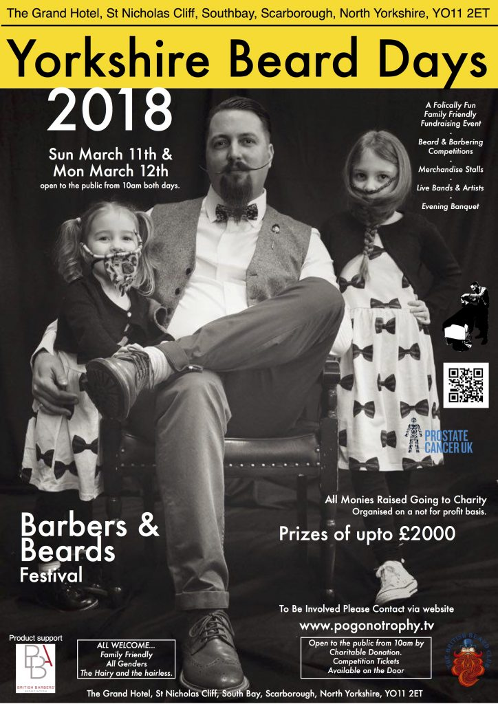 Yorkshire beard days 2018 poster - Image is of Musketeer Ben Waddington and his false beard freestyling Daughters