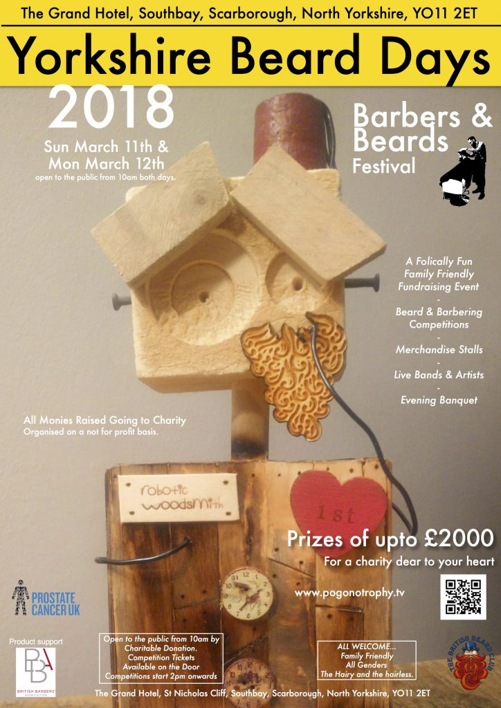 Yorkshire Beard Day 2018 poster - image is a Bearded Bot wearing a fez trophy by Robotic Woodsmith created for this years Yorkshire Beard of the year Competition run by members of The British Beard Club