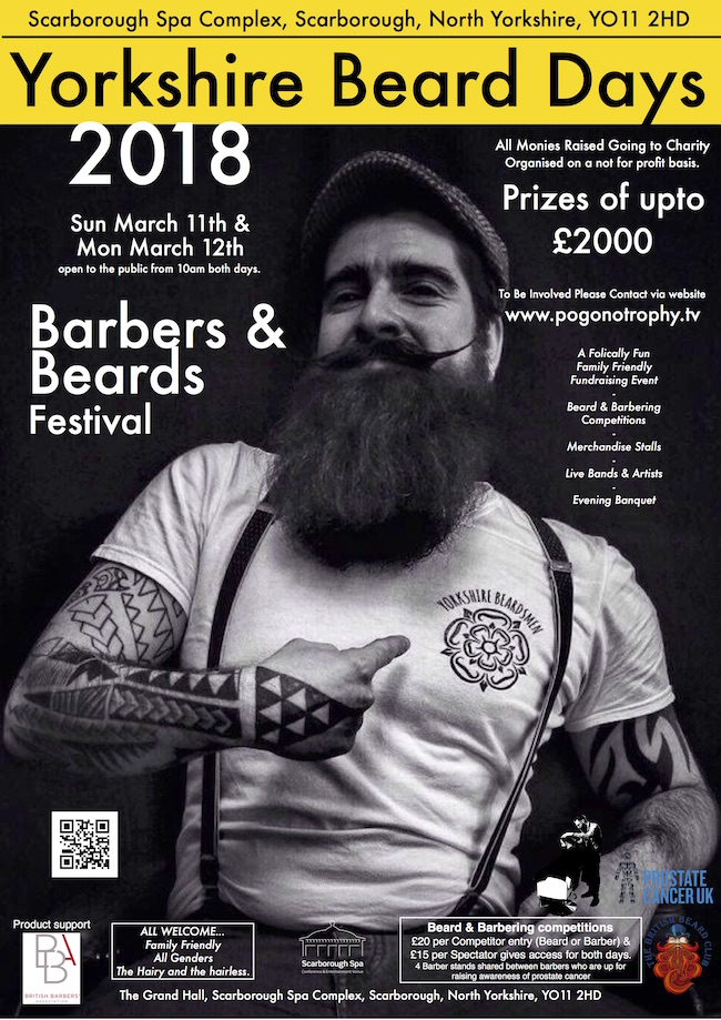 Yorkshire beard days 2018 - Barbers & Beards Festival Sunday 11th March and Monday 12th March 2018