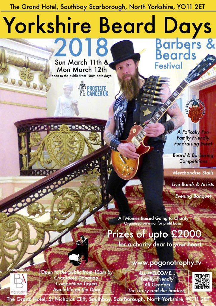 Yorkshire Beard Day 2018 poster - image is of Musician & Artist Alastair Magraw serenading a lady who clearly loves the opulent ornamental balustrades of the glorious Grand Staircase of the Grand Hotel.