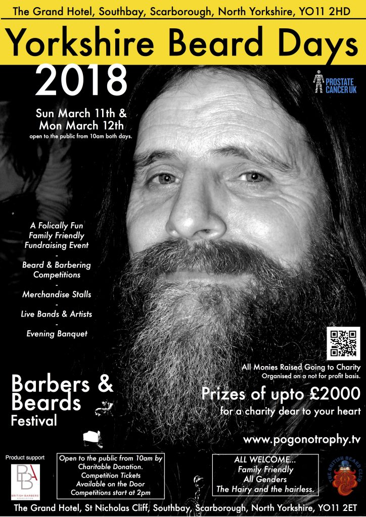 Yorkshire Beard Day 2018 poster - image is of a gentleman wearing a Badger Beard, which is a natural striped beard with two contrasting colours. This is a new competition style for 2018
