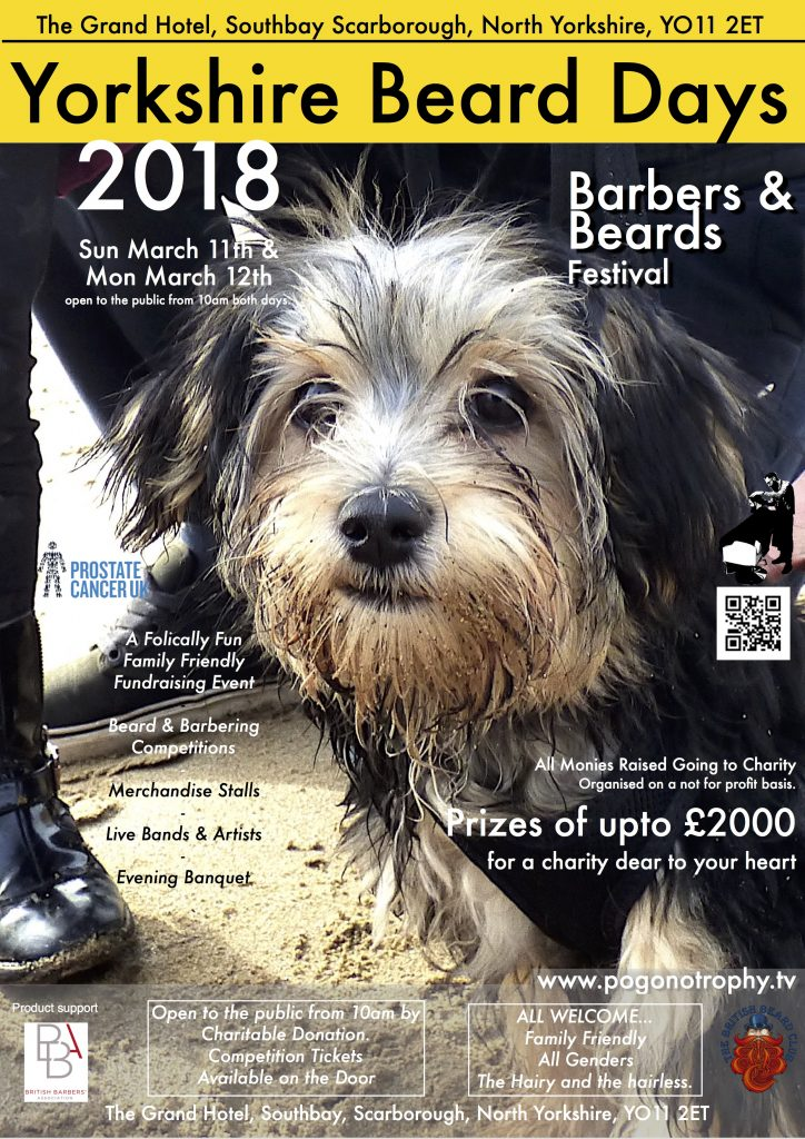 Dog With Beard, Beard with Dog Competition Sunday Morning as part of Yorkshire beard day 2018 - The Grand Hotel, Southbay, Scarborough, YO112ET Sunday March 11th, Monday March 12th
