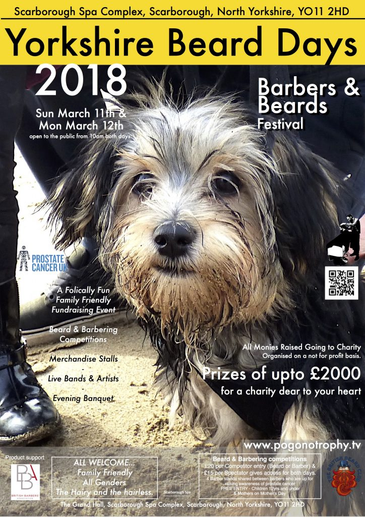 Yorkshire Beard Day 2018 poster - image is of a Yorkshire Dog with beard on Scarborough Beach, There will be a Dogs with Beards and Beards with Dogs comp held as part of the activities during the Sunday. more details and more furry family friendly fun events to be announced later this week ;)