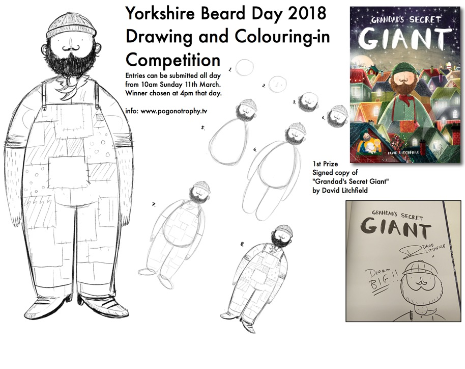 Yorkshire Beard Day 2018 Grandads Secret Giant Drawing and Colouring-in competition. Winner receives a signed copy of the amazingly illustrated book created by illustrator & Author David Litchfield