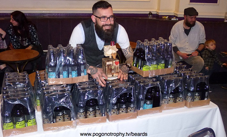 Yorkshire Beard Day 2018 - Yorkshire Beard of the year winner Carl Coates with his trophy and 100 bottles of beer from the Scarborough Brewery