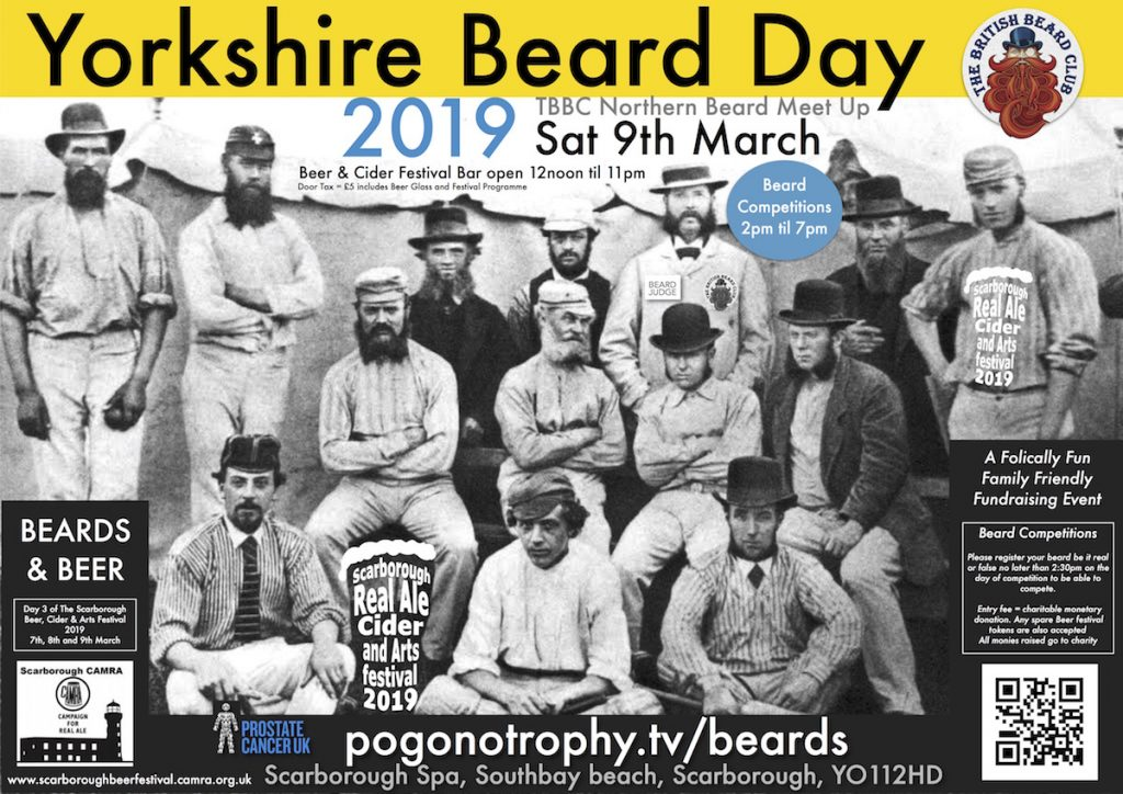 Yorkshire Beard Day 2019 - TBBClub Northern Beard Meet Up - Saturday 9th March 2019 - The Ocean Room, Scarborough Spa, Southbay, Scarborough, YO112HD.   BEARDS & BEER Day 3 of the Scarborough Real Ale Cider & Arts Festival 2019 hosted by Volunteers of the Scarborough CAMRA branch.