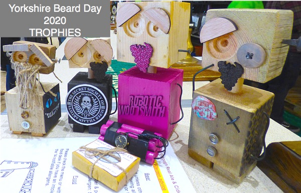 Yorkshire Beard Day 2020 Fun & Friendly Beard Competition Beard Bot Trophies donated by The Robotic Woodsmith